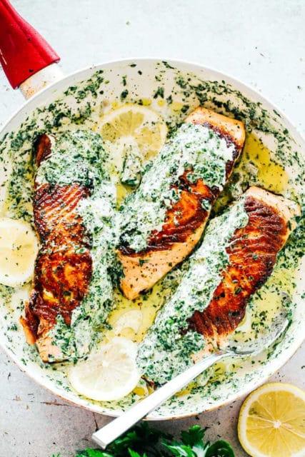 Stuffed Salmon spinach artichoke dip