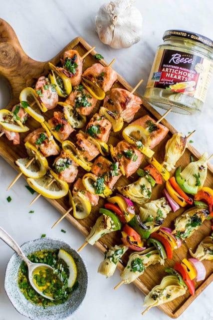 Mediterranean Salmon and artichokes skewers