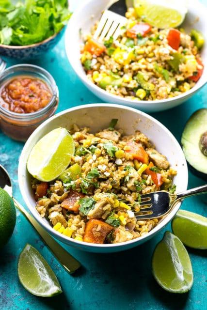 meal prep fiesta chicken rice bowl