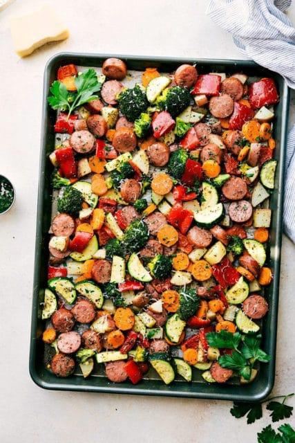 One pan healthy Italian sausage and veggies