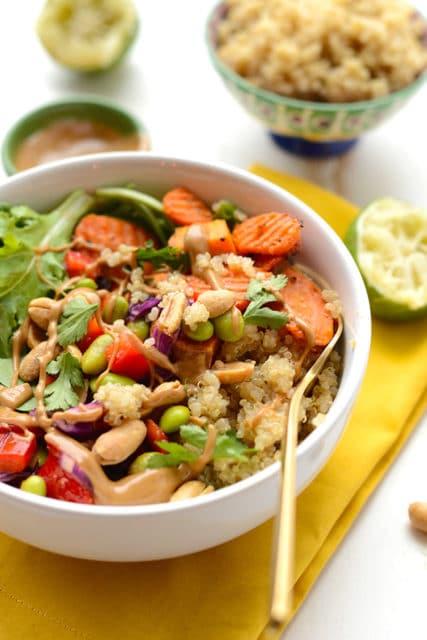 healthy Thai coconut quinoa bowl