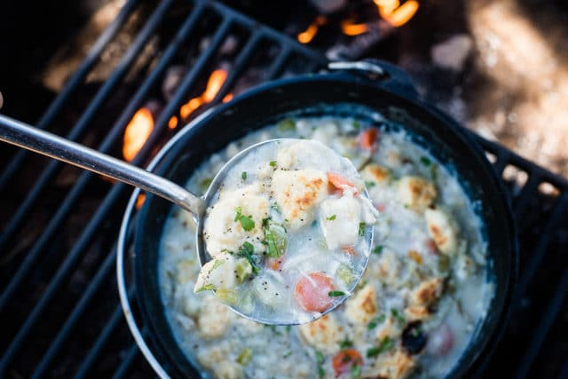 camping dutch oven chicken and dumplings