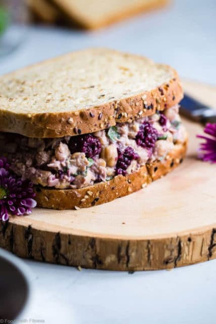 Blackberry vegan chickpea salad sandwich with basil