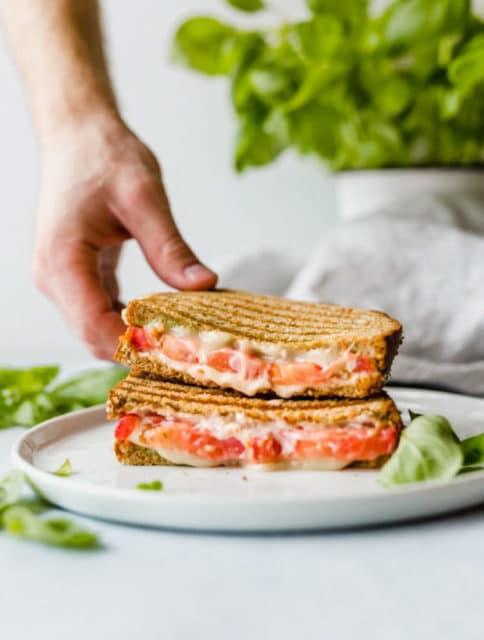 Grilled Tomato Mozzarella and pesto sandwich recipe