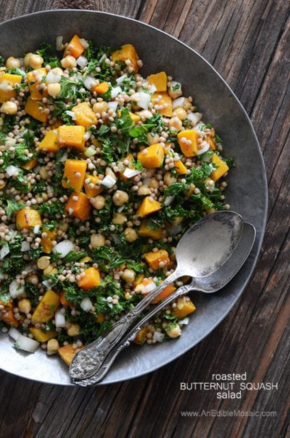 Roasted butternut squash salad with chickpeas kale and peal couscous