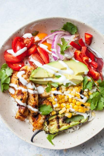 Grilled chicken burrito bowls