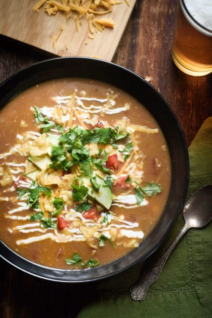 slow cooker chicken tortilla soup with secret ingredient