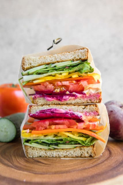 Rainbow Veggie Sandwiches