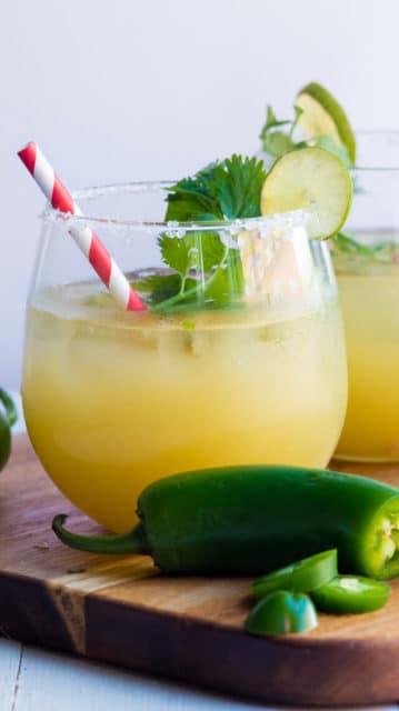 Pineapple Cilantro Jalapeno Margaritas