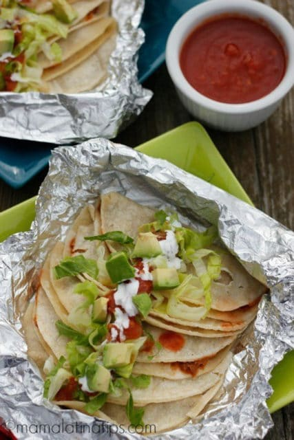 miner's tacos with mashed frijoles charros