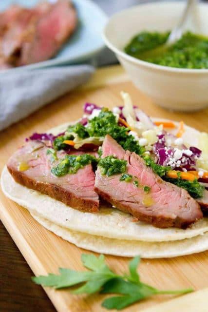 Grilled Chimichurri streak tacos