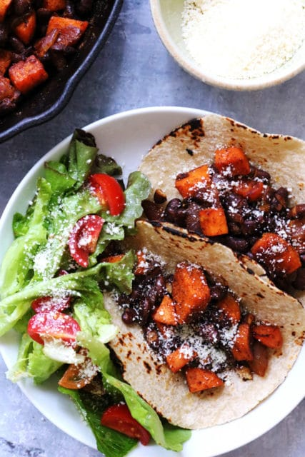 sweet potato and black beans tacos