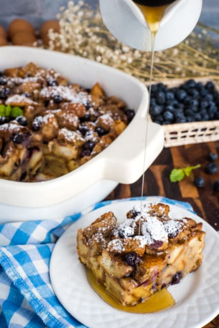 blueberry french toast bake with maple syrup