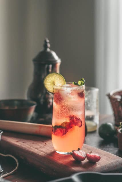 roasted strawberry and basil limeade