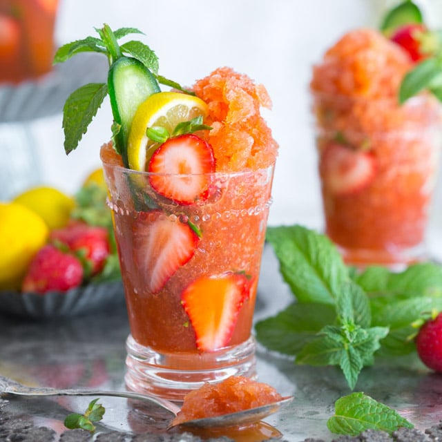 strawberry Pimm's tip granita