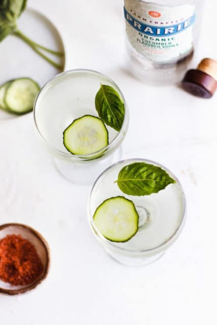 Cucumber Basil Martini with Red Salt