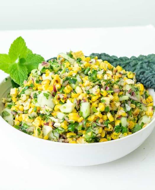 Grilled Corn Salad with Cucumber & Mint Cilantro Vinaigrette