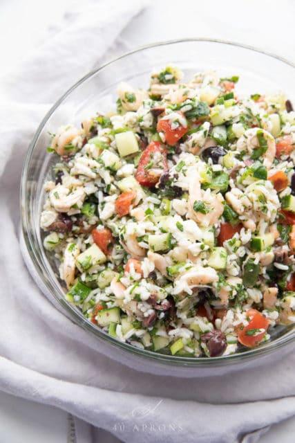 Greek Shrimp Salad with Feta and Rice