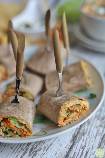 Tortilla Pinwheels with Buffalo Hummus