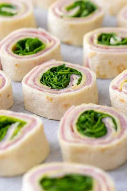 Ham and Cheese Pinwheels with Spinach