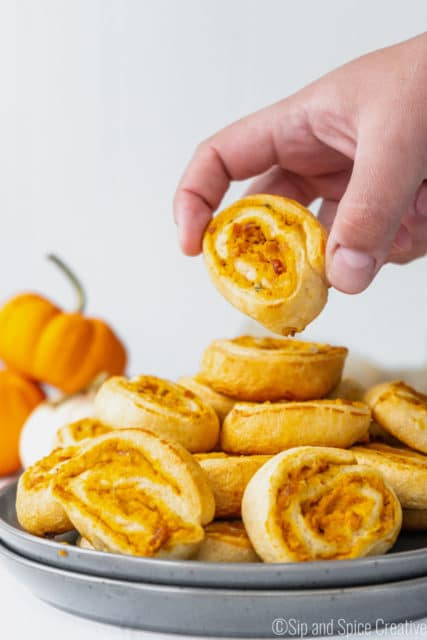 Savory Pumpkin Pinwheels with Bacon and Sage