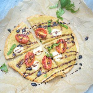 Caprese Hummus Tortilla Pizzas