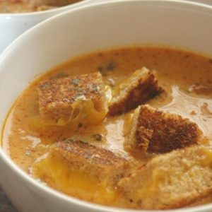 Roasted Tomato Sausage Soup with Grilled Cheese Croutons