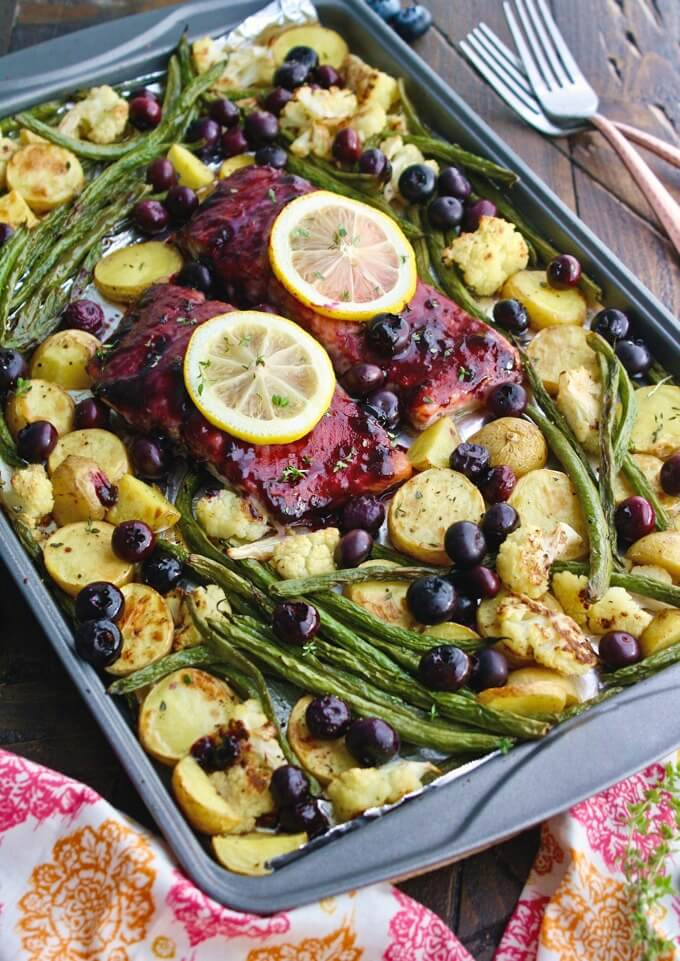 Sheet Pan Blueberry Balsamic Salmon