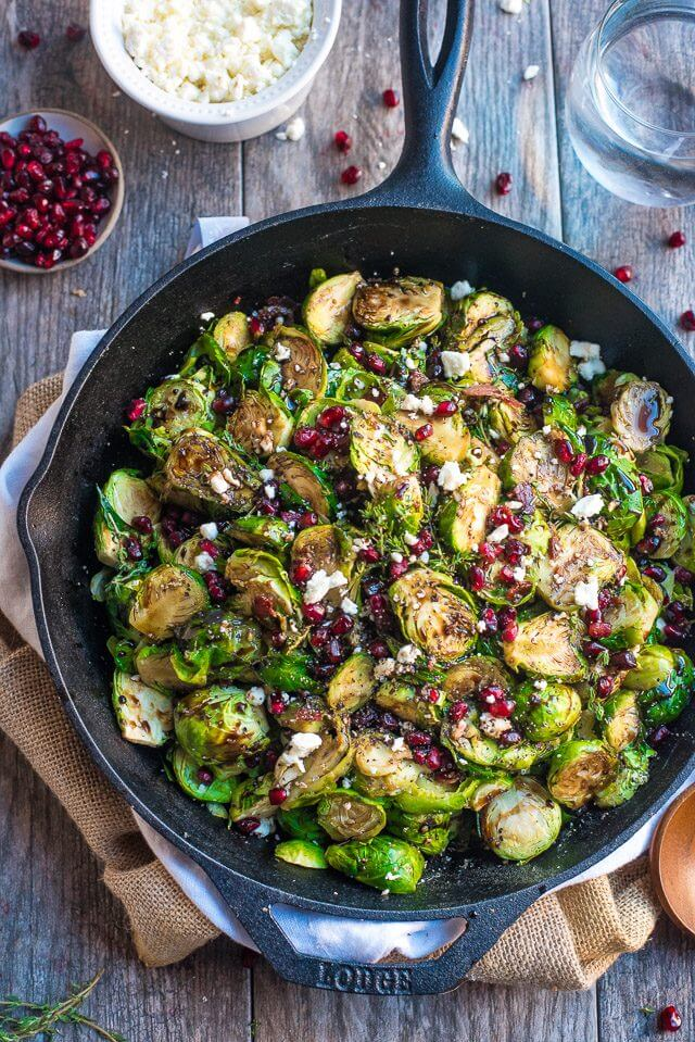 Balsamic Brussels Sprouts Topped with Feta Cheese