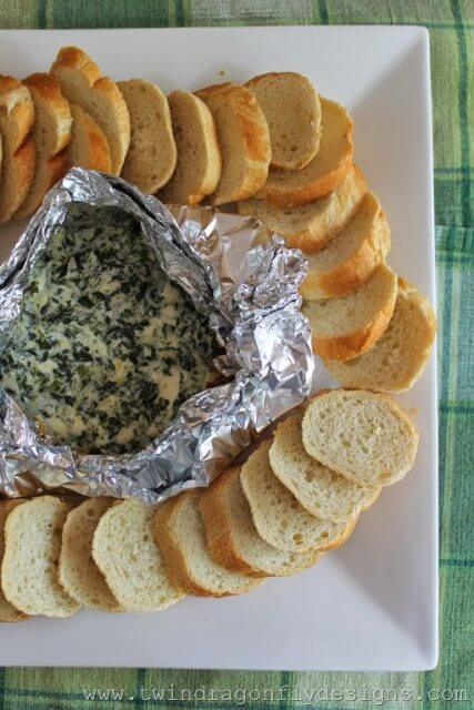 Campfire Spinach Dip, 101 Stress Free Camping Food Ideas