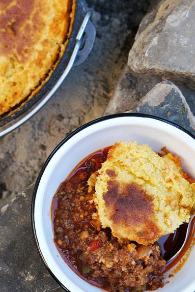 Cast-iron-camp-fire-chili-with-corn-bread