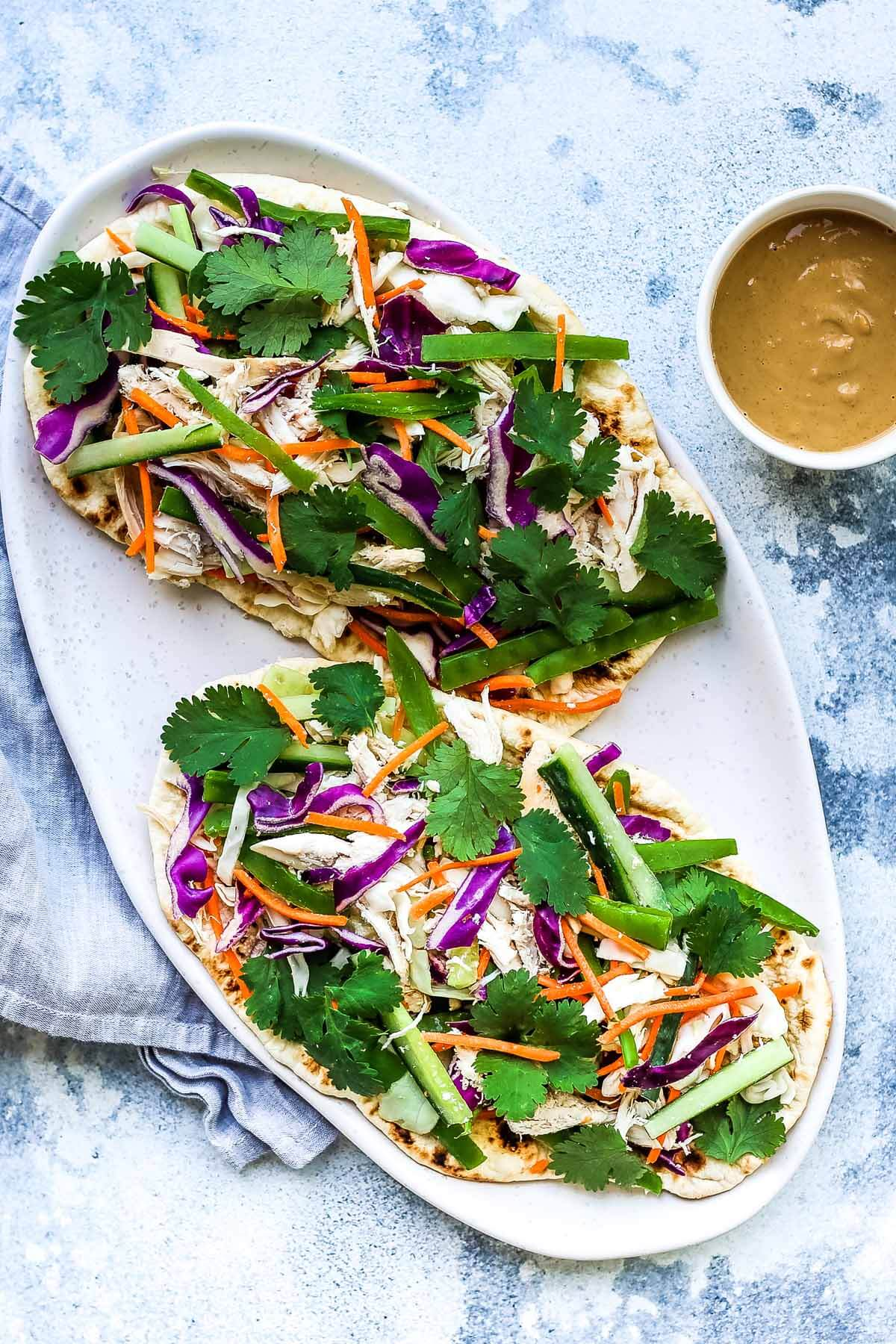 Chicken Satay Salad Flatbread