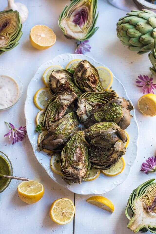 Roasted Chimichurri Artichokes