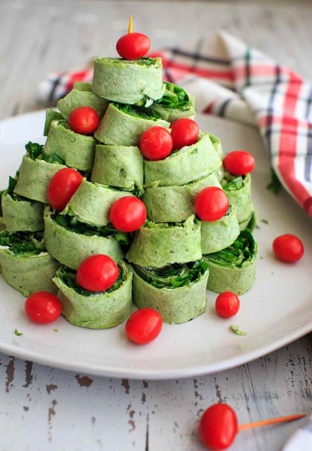 Christmas tree pita pinwheel, Christmas party food ideas