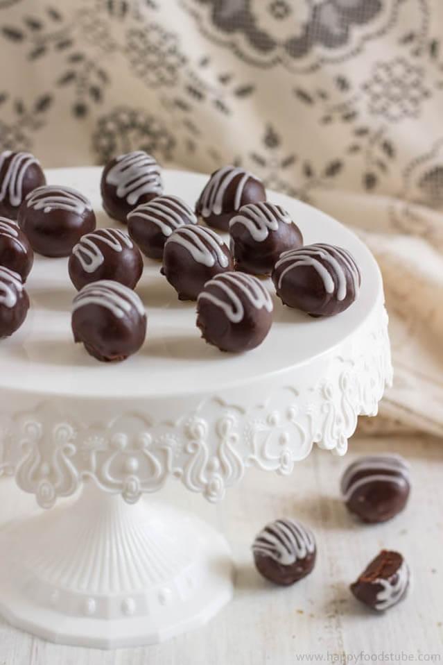 2 ingredient dark chocolate truffles, Christmas party food idea