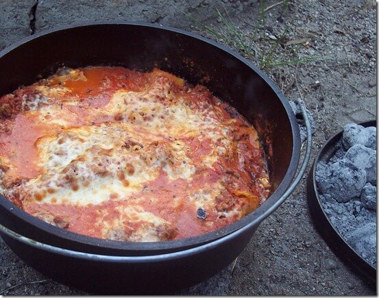 Dutch Oven Lasagna Recipe, 101 Stress Free Camping Food Ideas