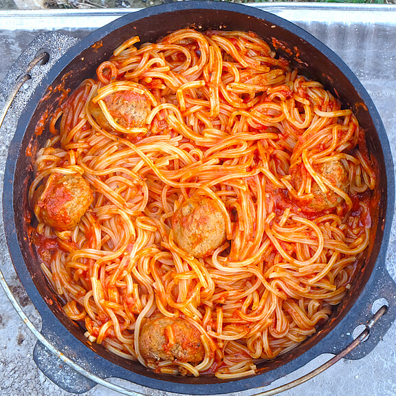 Dutch Oven Spaghetti & Meatballs (No Boil), 101 Stress Free Camping Food Ideas