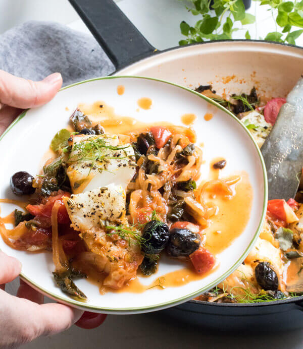 Easy One Pan Mediterranean Cod