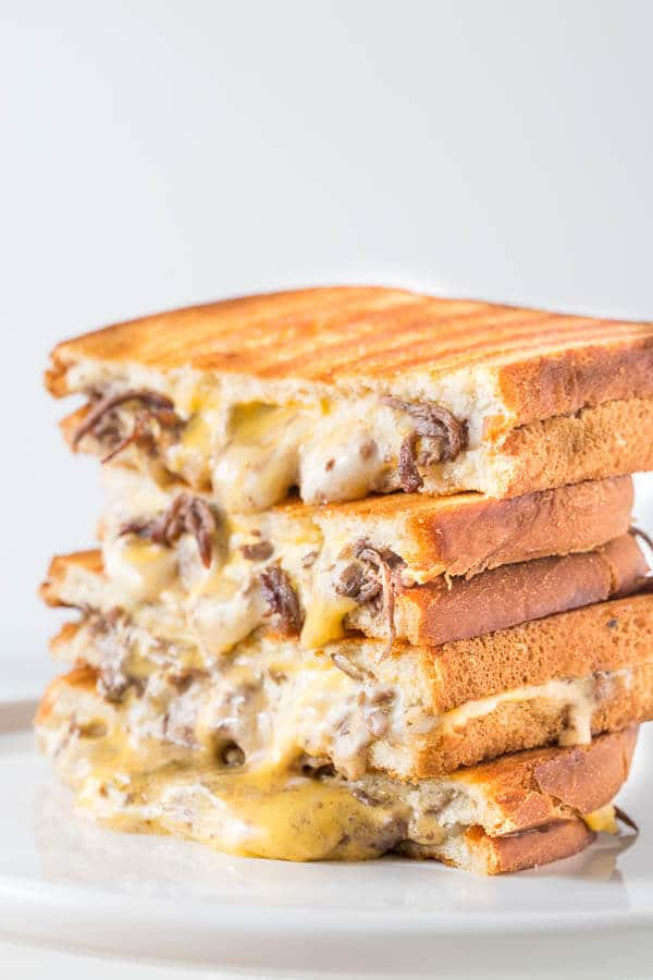 15 minute philly cheese steak grilled cheese