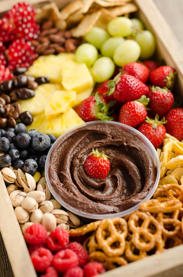 healthy fruit chocolate party tray, finger food ideas