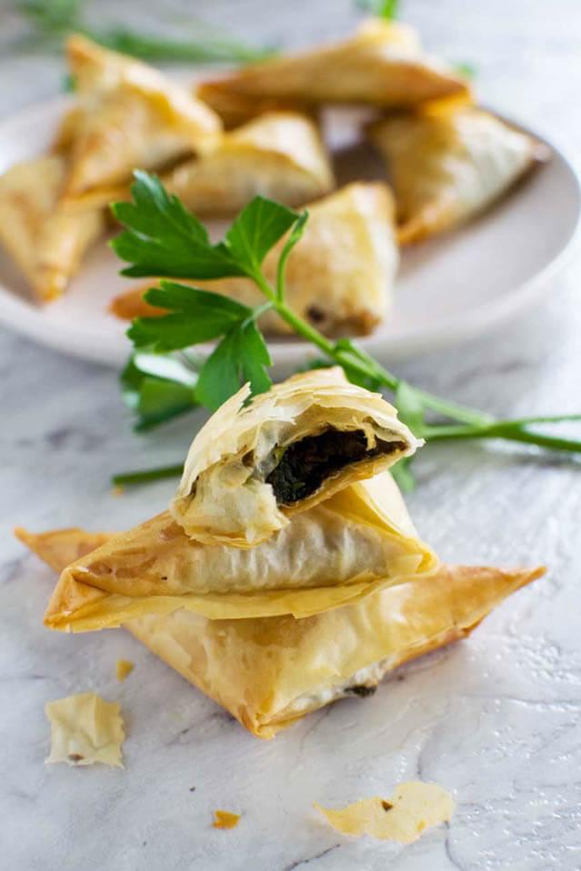 crispy mushrooms filo triangles, finger food ideas
