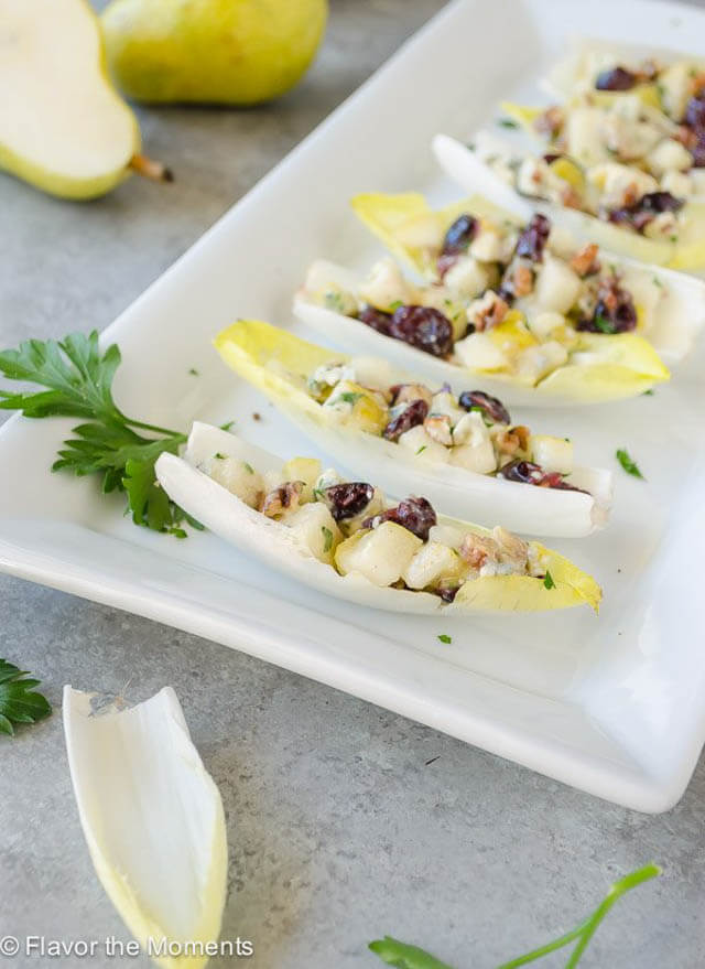 endive salad bites with pears blue cheese and pecans, finger food ideas