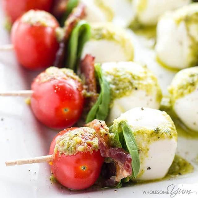 Caprese Salad Skewers with Pesto Bacon Tomato Basil Skewers, finger food ideas