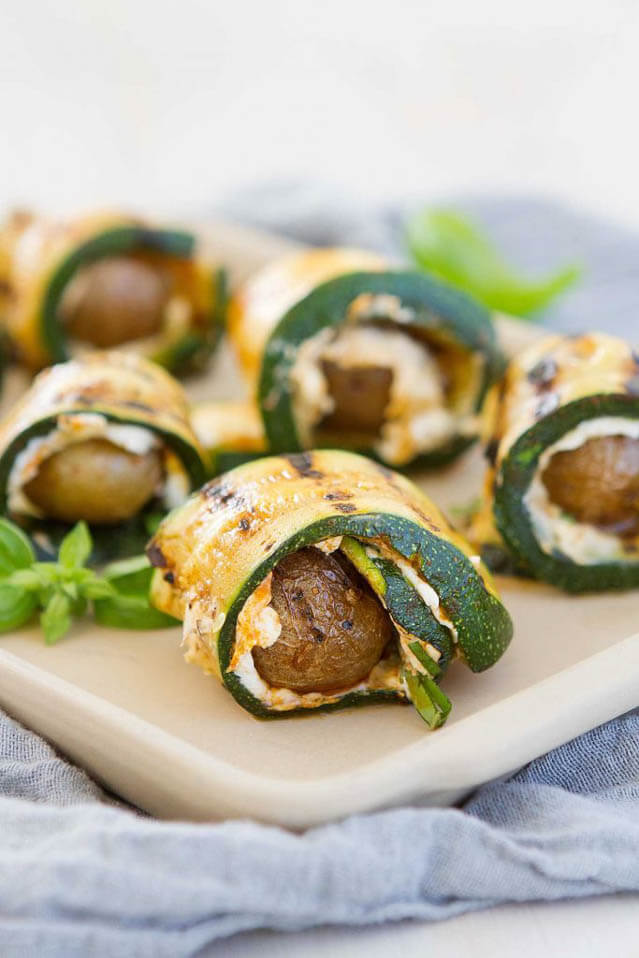 Grilled Zucchini Potato Rolls and Goat Cheese, finger food ideas