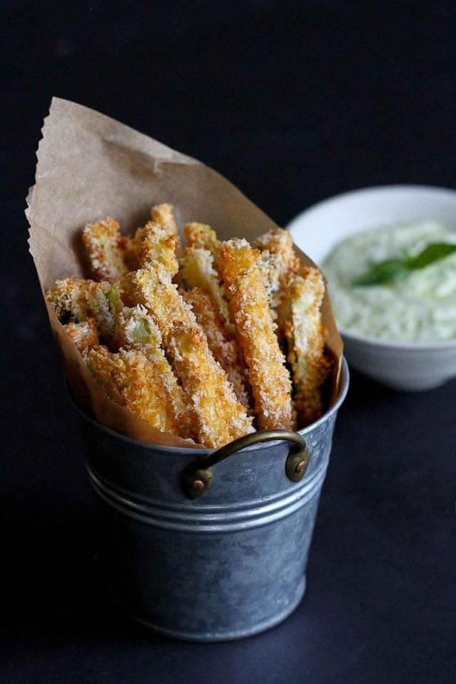 Baked Zucchini Fries with Pesto Yogurt Dipping Sauce Recipe, finger food ideas