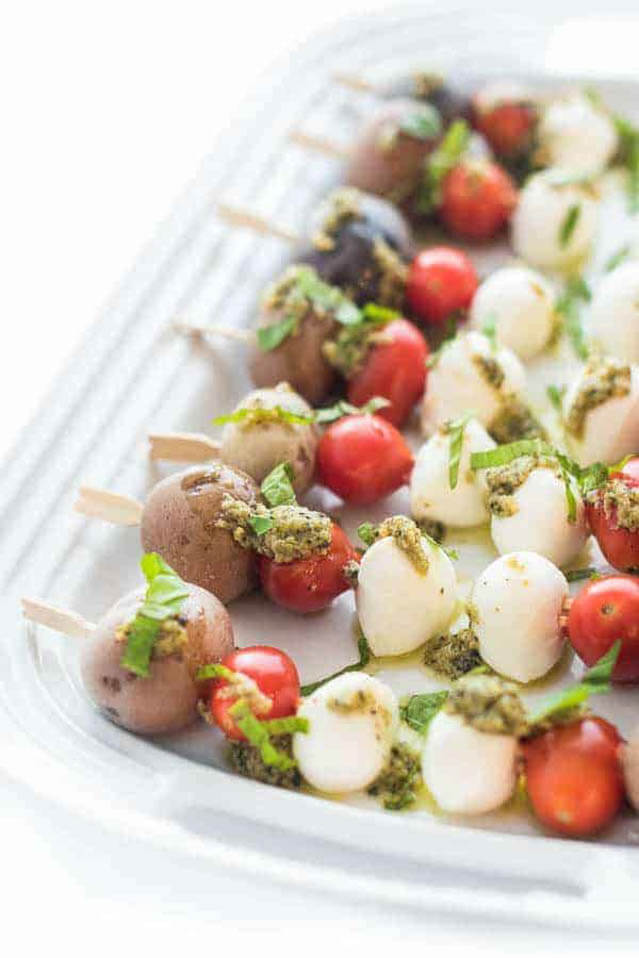 Pesto Caprese Potato Skewers, finger food ideas