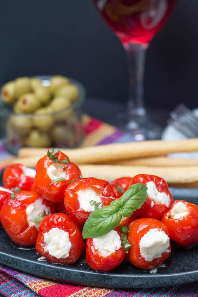 cream cheese ricotta stuffed peppade, finger food ideas