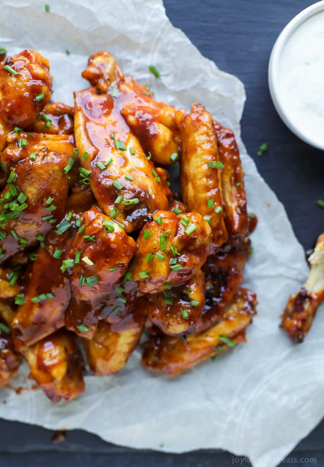 crispy baked honey bbq chicken wings, finger food ideas
