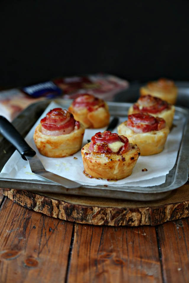 glazed bacon and havarti puff pastry, finger food ideas