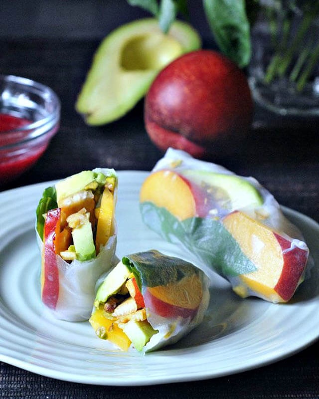 Savory Sweet Summer Rolls with Raspberry Ginger Sauce, finger food ideas